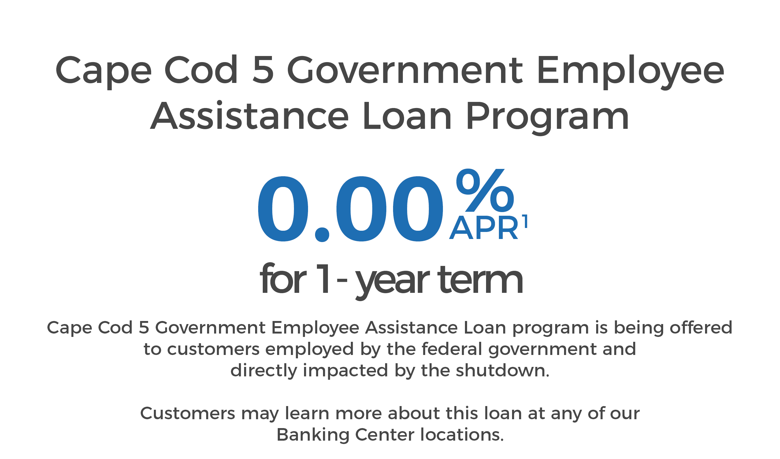 Cape Cod 5 Government Shutdown Employee Assistance Program Loan 1 year term at 0.00% APR