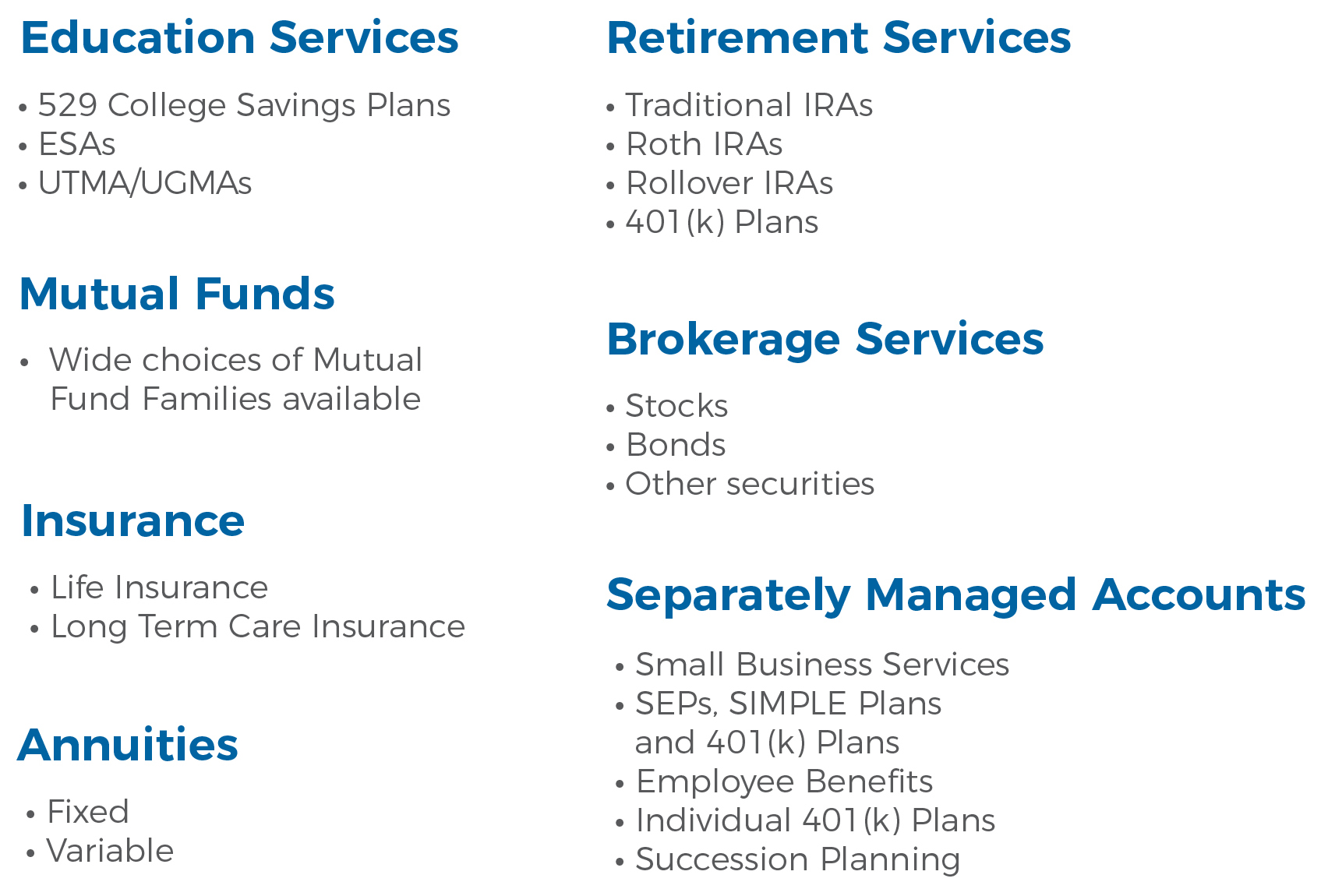 Investment Products and Services