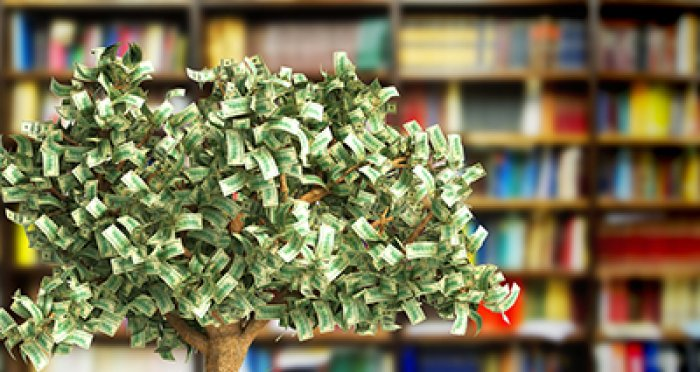 Tree with leaves of money with bookcase in background
