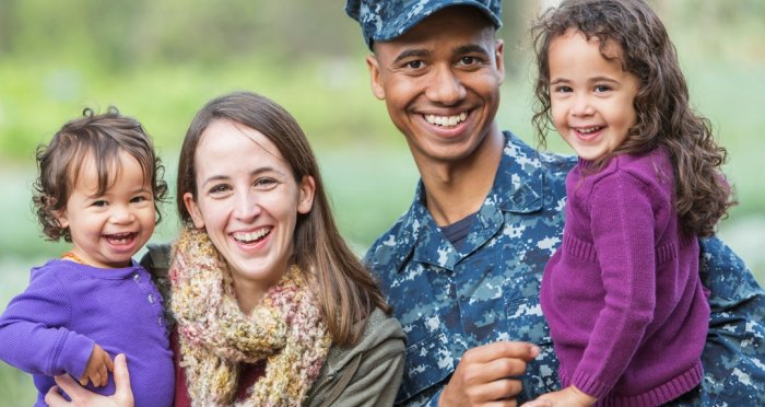 Navy man with family