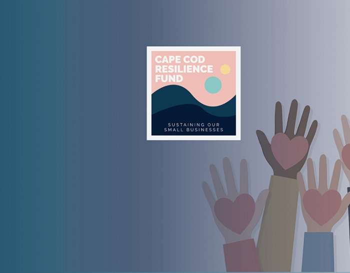 Hands with hearts graphic and Cape Cod Resilience Fund logo