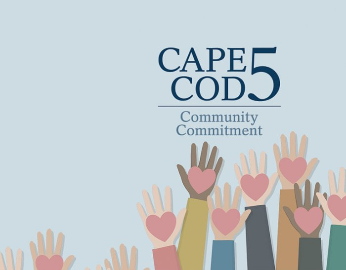 Hands with hearts raised in the air and Cape Cod 5 Community Commitment logo