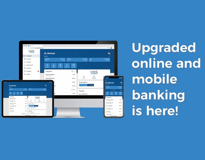 Desktop, tablet and mobile displaying new Cape Cod 5 online and mobile banking UI